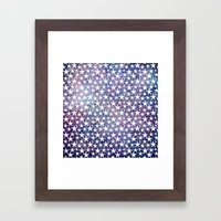 White stars on bold grunge blue background Framed Art Print