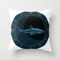 Engraved Shark Throw Pillow