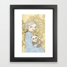 Girl with Panda Framed Art Print