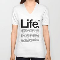 V-neck T-shirt featuring Life.* Available for a limited time only. (White) by WORDS BRAND™