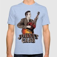 Johnny Cash Mens Fitted Tee Tri-Blue SMALL
