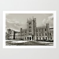 Northern Illinois University Castle - Black and White Art Print