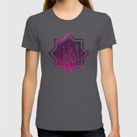 Islamic Chant, in pink & glitch | الله Womens Fitted Tee Asphalt SMALL