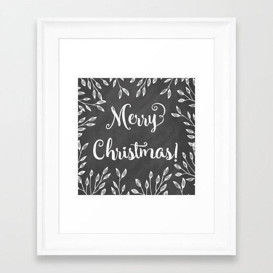 Monochrome Christmas Framed Art Print