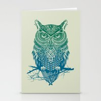 fire Stationery Cards featuring Warrior Owl by Rachel Caldwell