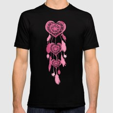 Hipster Heart Dreamcatcher Girly Pink Cute Pastel SMALL Black Mens Fitted Tee