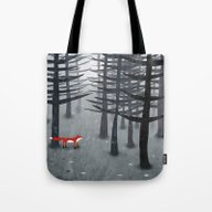 Tote Bag featuring The Fox And The Forest by Nic Squirrell