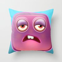 Glutton Jelly Monster  Throw Pillow