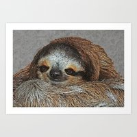 Art Print featuring SLOTH LOVE by Catspaws