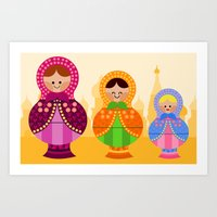 Art Print featuring Matrioskas 2 (Russian dolls 2) by Alapapaju