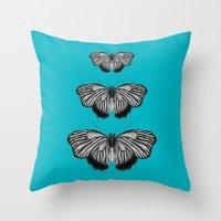 Butterflies On Teal Throw Pillow