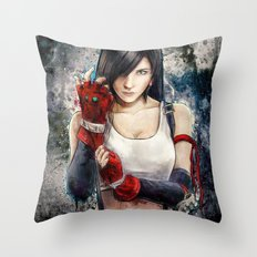 Final Fantasy VII Tifa Lockhart Painting based on Lady Zero's Cosplay Throw Pillow