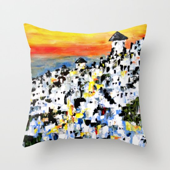 Abstract Santorini, Greece Landscape Throw Pillow