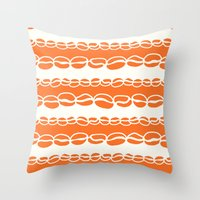 Coffee Beans: Orange Throw Pillow