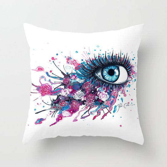 """Midnight Rose"" Throw Pillow"