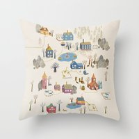 Little Village Throw Pillow