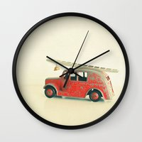 Red Fire Engine Wall Clock