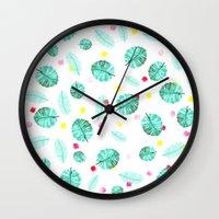 Exotic modern summer green palm tree leaf watercolor pattern brushstrokes Wall Clock