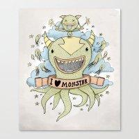 I Love Monster Canvas Print