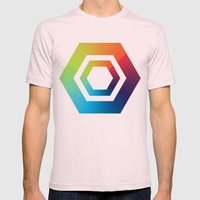 Hexagons Mens Fitted Tee Light Pink SMALL