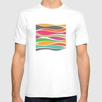Abstract color waves Mens Fitted Tee White SMALL