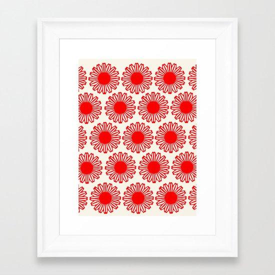 Vintage Flower-Red Framed Art Print