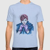 Girl With the Purple Gloves Mens Fitted Tee Athletic Blue SMALL
