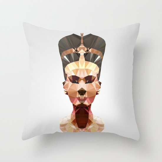 Polygon Heroes - Nefertiti Throw Pillow