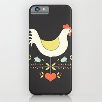 iPhone & iPod Case featuring Folk Chicken by Jenny Tiffany