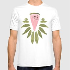 Watermelon and Leaves Mens Fitted Tee SMALL White
