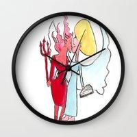 Angel/devil lesbian kiss Wall Clock