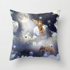 Shoot For The Moon (Giraffe In The Clouds) Throw Pillow