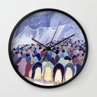 Huddling Penguins Wall Clock