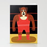 Dog Wrestler Stationery Cards