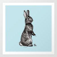 Blue Woodland Creatures - Rabbit Art Print