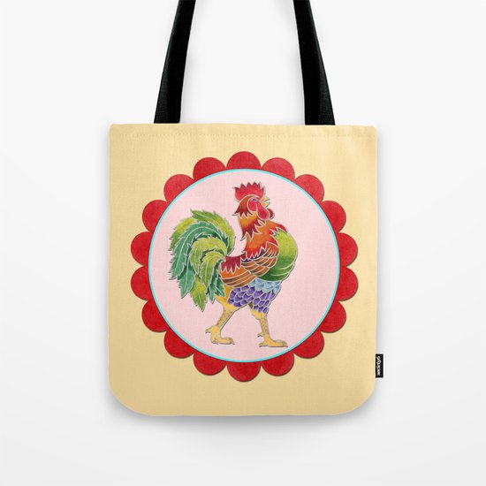 Happy Rainbow Rooster Tote Bag