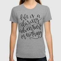 Calligraphy // Life Is A… Womens Fitted Tee Tri-Grey SMALL