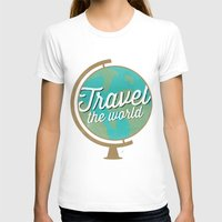 Travel The World - Globe… Womens Fitted Tee White SMALL