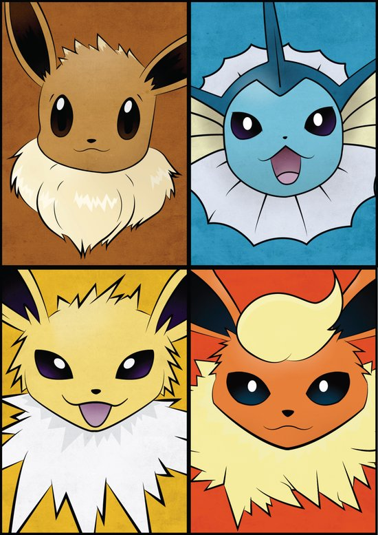 Original Pokemon Eeveelutions Poster  Canvas Print