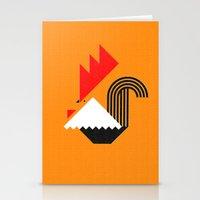 Rooster (orange) Stationery Cards