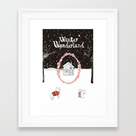Winter Wonderland Holiday card/illustration Framed Art Print