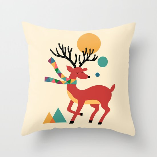 Deer Autumn Throw Pillow