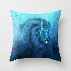 Blue Spirit Lion  Throw Pillow