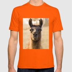 LLAMA Mens Fitted Tee Orange SMALL