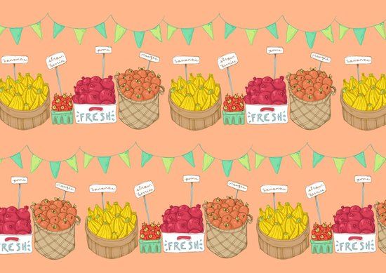 Farmer's Market Pattern Art Print