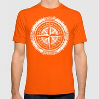 Compass Rose Mens Fitted Tee Orange SMALL