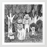 Fox Family Art Print