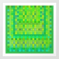 Wild Green Blocks and Dots Art Print