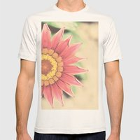 Red flower Mens Fitted Tee Natural SMALL