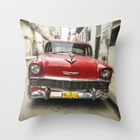 Vintage Red American Car… Throw Pillow